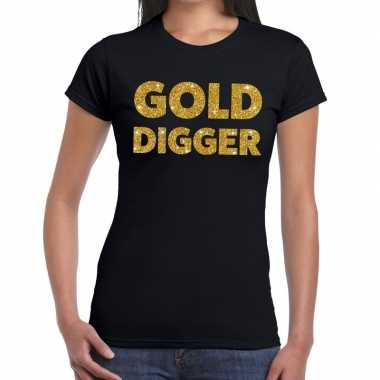 Gold digger fun t shirt zwart dames