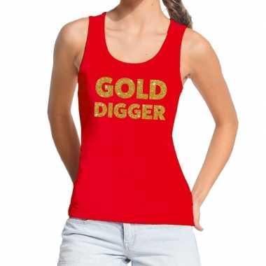 Gold digger fun tanktop / mouwloos shirt rood dames