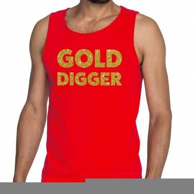Gold digger fun tanktop / mouwloos shirt rood heren