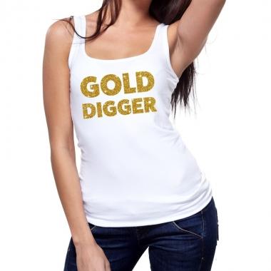 Gold digger fun tanktop / mouwloos shirt wit dames