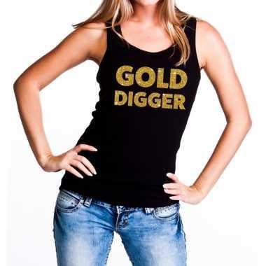 Gold digger fun tanktop / mouwloos shirt zwart dames