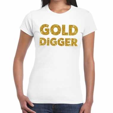 Gold digger goud fun t shirt wit dames