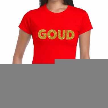 Goud fun t shirt rood dames