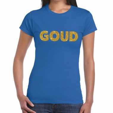 Goud tekst fun t shirt blauw dames