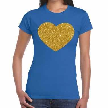 Gouden hart fun t shirt blauw dames