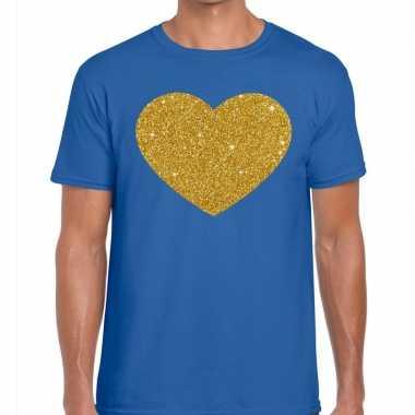 Gouden hart fun t shirt blauw heren