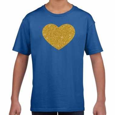 Gouden hart fun t shirt blauw kids
