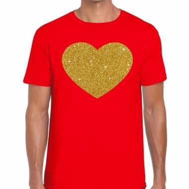 Gouden hart fun t shirt rood heren