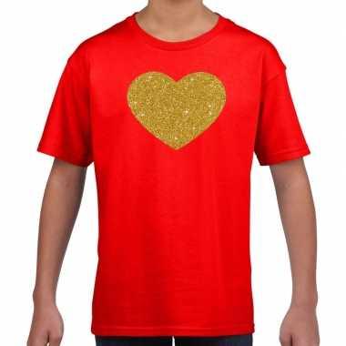 Gouden hart fun t shirt rood kids