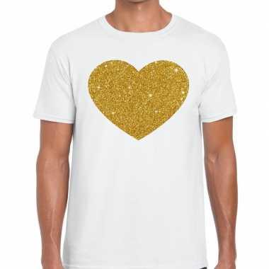 Gouden hart fun t shirt wit heren