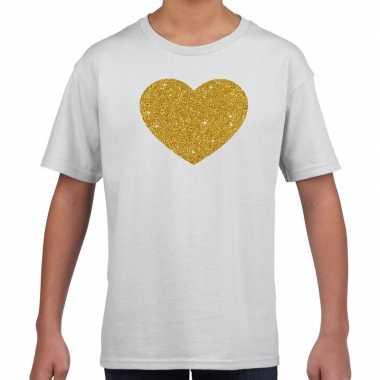 Gouden hart fun t shirt wit kids