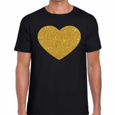 Gouden hart fun t shirt zwart heren