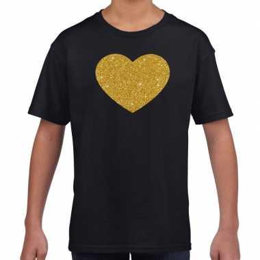 Gouden hart fun t shirt zwart kids