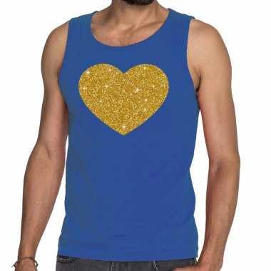 Gouden hart fun tanktop / mouwloos shirt blauw heren