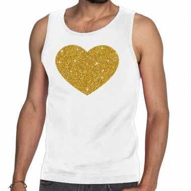 Gouden hart fun tanktop / mouwloos shirt wit heren