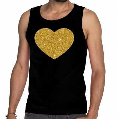 Gouden hart fun tanktop / mouwloos shirt zwart heren