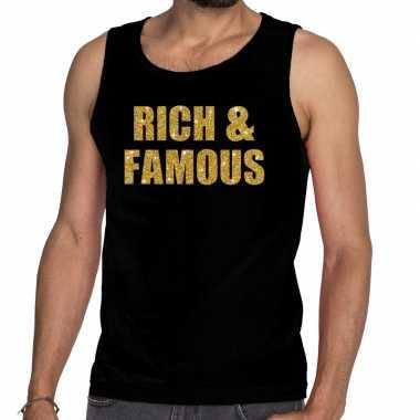 Gouden rich & famous fun tanktop / mouwloos shirt zwart heren