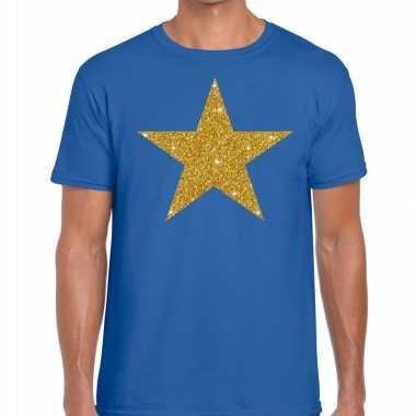 Gouden ster fun t shirt blauw heren