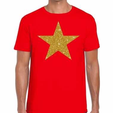 Gouden ster fun t shirt rood heren