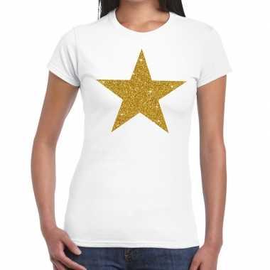 Gouden ster fun t shirt wit dames