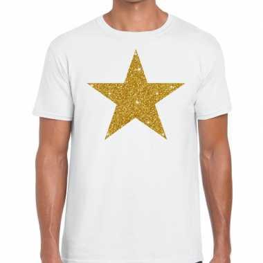 Gouden ster fun t shirt wit heren