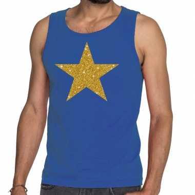 Gouden ster fun tanktop / mouwloos shirt blauw heren