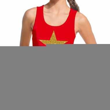 Gouden ster fun tanktop / mouwloos shirt rood dames