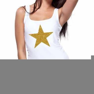 Gouden ster fun tanktop / mouwloos shirt wit dames