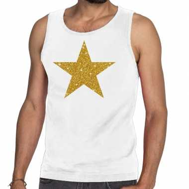 Gouden ster fun tanktop / mouwloos shirt wit heren