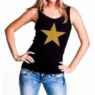 Gouden ster fun tanktop / mouwloos shirt zwart dames