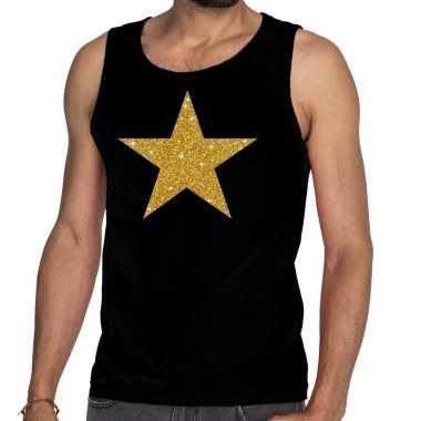 Gouden ster fun tanktop / mouwloos shirt zwart heren
