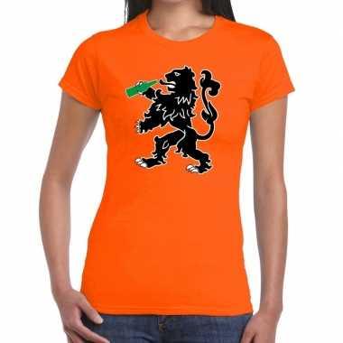 Grappige bier drinkende leeuw t shirt koningsdag of ek/wk dames