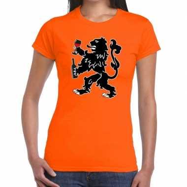 Grappige wijn drinkende leeuw t shirt koningsdag of ek/wk dames