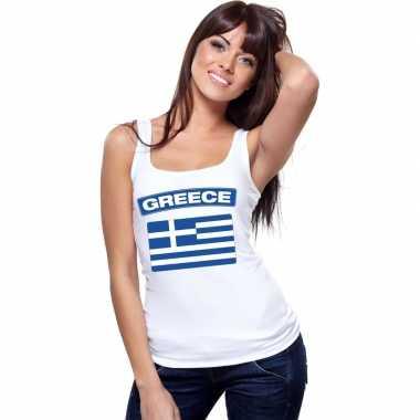 Griekenland vlag mouwloos shirt wit dames