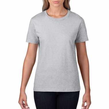Grijze dames casual t shirts ronde hals