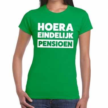 Groen hoera eindelijk pensioen fun t shirt dames