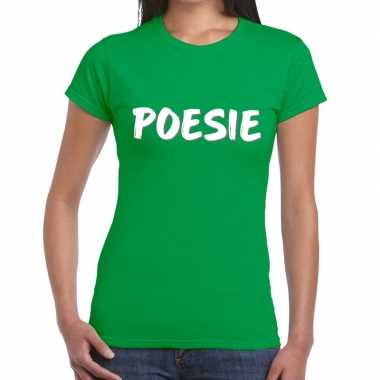 Groen poesie shirt dames