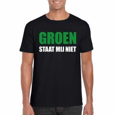 Groen staat mij niet t shirt zwart heren