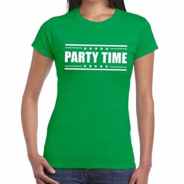Groen t shirt dames tekst party chick