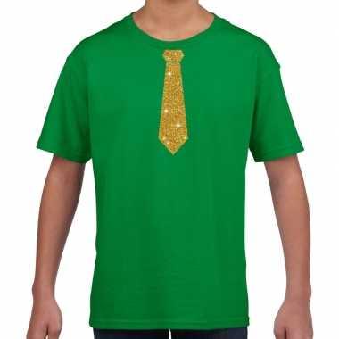 Groen t shirt gouden stropdas kinderen