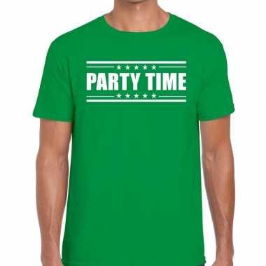 Groen t shirt heren tekst party time