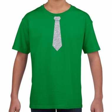 Groen t shirt zilveren stropdas kinderen
