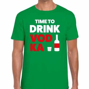 Groen time to drink vodka fun t shirt heren