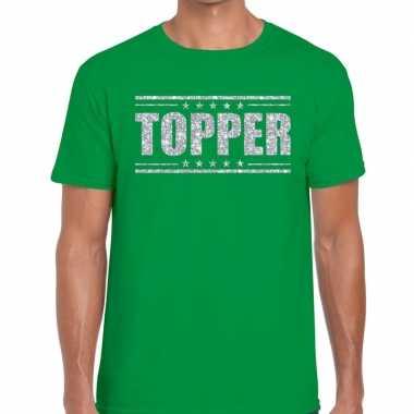 Groen topper shirt zilveren glitter letters heren