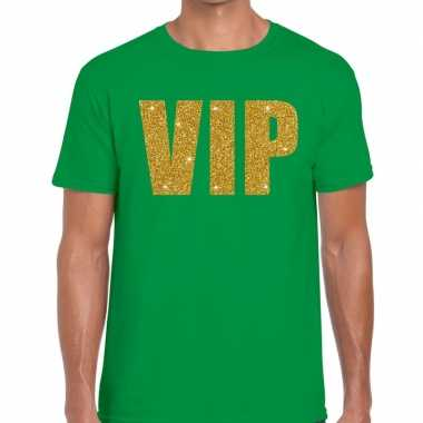 Groen vip goud fun t shirt heren