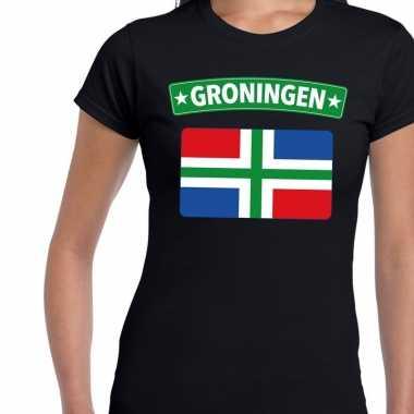 Groningen vlag t shirt zwart dames