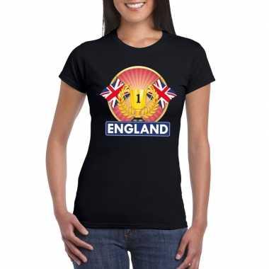 Groot brittannie/ engeland kampioen shirt zwart dames