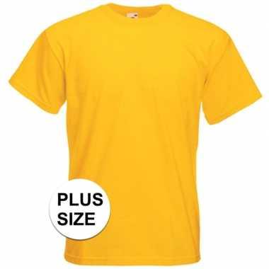 Grote maten basis heren t shirt geel ronde hals