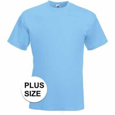 Grote maten basis heren t shirt licht blauw ronde hals