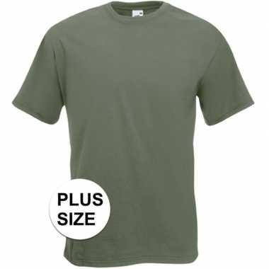 Grote maten basis heren t shirt olijf groen ronde hals